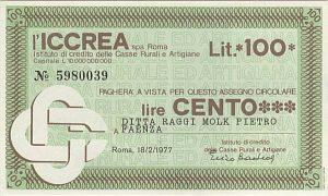 Anni Settanta - un miniassegno che sostituiva la moneta - Libro Il Biondino della Spider Rossa