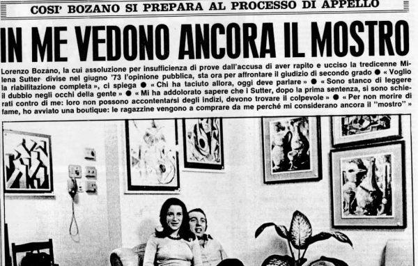 Caso Sutter - Lorenzo Bozano - settimanale Oggi - 30 ottobre 1974