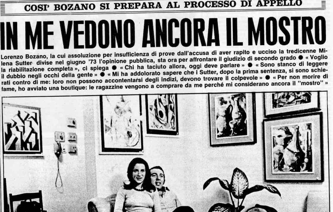 Caso Sutter - Lorenzo Bozano - settimanale Oggi - 30 ottobre 1974 - blog ilbiondino.org - Agenzia Corte&Media Verona