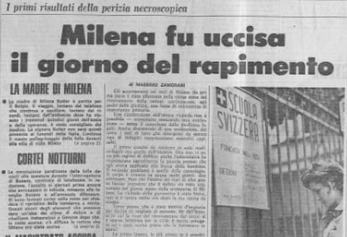 Cold Case - Medicina Legale - Sequestro e omicidio Milena Sutter - 1971