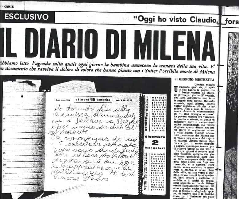 Diario di Milena Sutter - rotocalco Gente - 1971