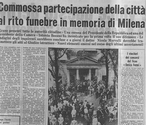 Funerali di Milena Sutter - vittimologia - autopsia psicologica - maggio 1971 - corriere mercantile - ilbiondino.org