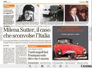 Il Biondino della Spider Rossa - libro sul rapimento e l'omicidio di Milena Sutter - il caso di Lorenzo Bozano - articolo giornale L'Arena 9 giugno 2018
