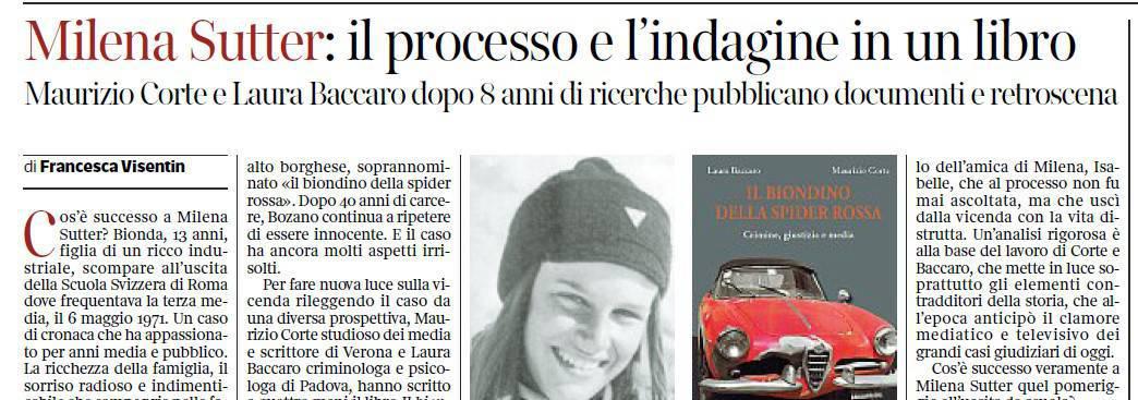 Libro Il Biondino della Spider Rossa - Corriere del Veneto