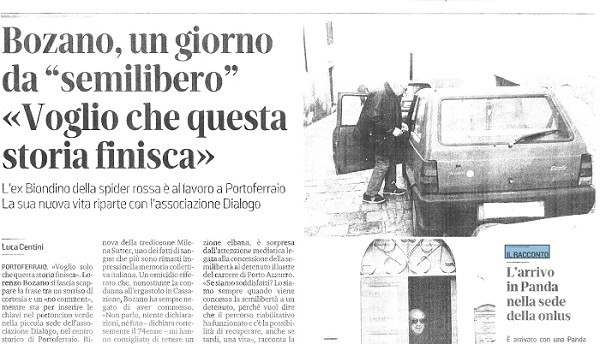 Lorenzo Bozano - Il Tirreno - semilibertà - sequestro e omicidio Milena Sutter
