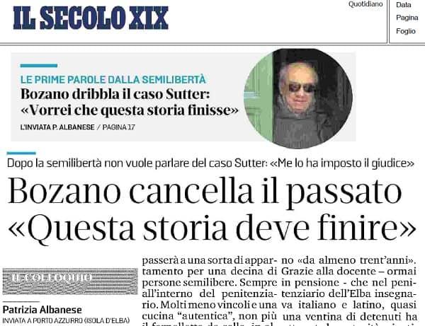 Lorenzo Bozano - Milena Sutter - semilibertà per Lorenzo Bozano - Secolo XIX