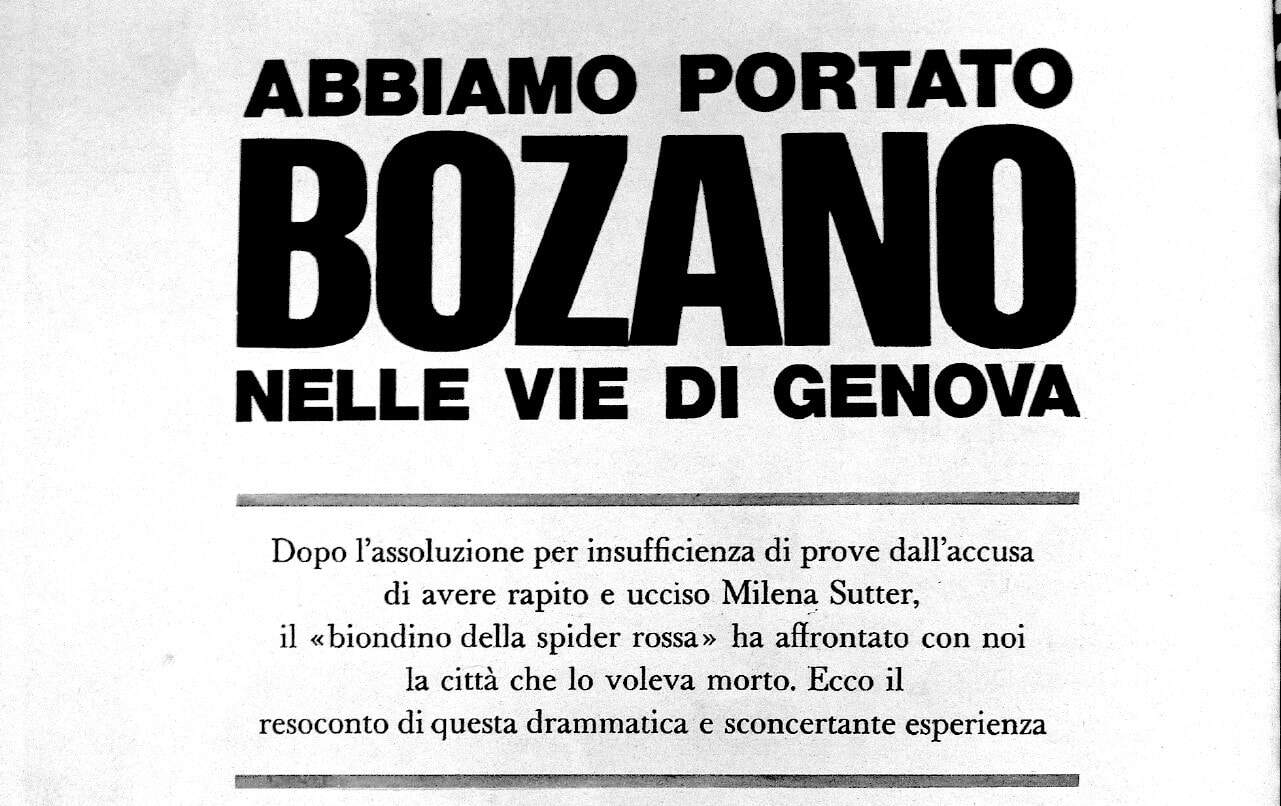 Lorenzo Bozano - caso Milena Sutter - Settimanale L'Europeo 28 giugno 1973