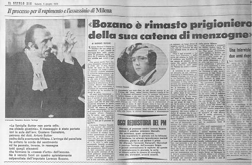Lorenzo Bozano - mentitore - Milena Sutter - sequestro e omicidio
