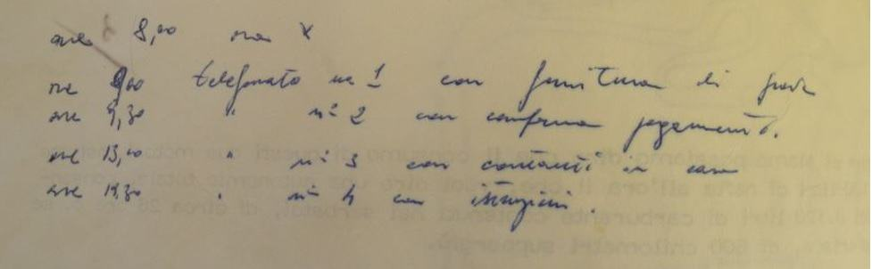 Tipi di scrittura - Lorenzo Bozano - particolare del piano di rapimento del 1971 - sequestro Milena Sutter
