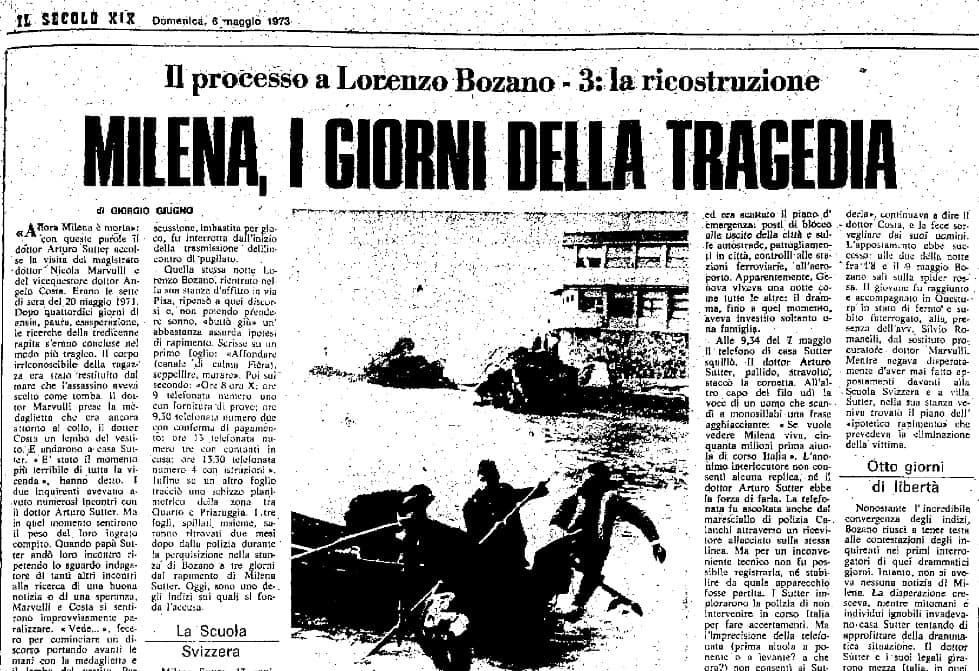 Milena Sutter - Genova - 1971 - la ricostruzione del sequestro e omicidio - giudice istruttore - blog IlBiondino.org - Agenzia Corte&Media