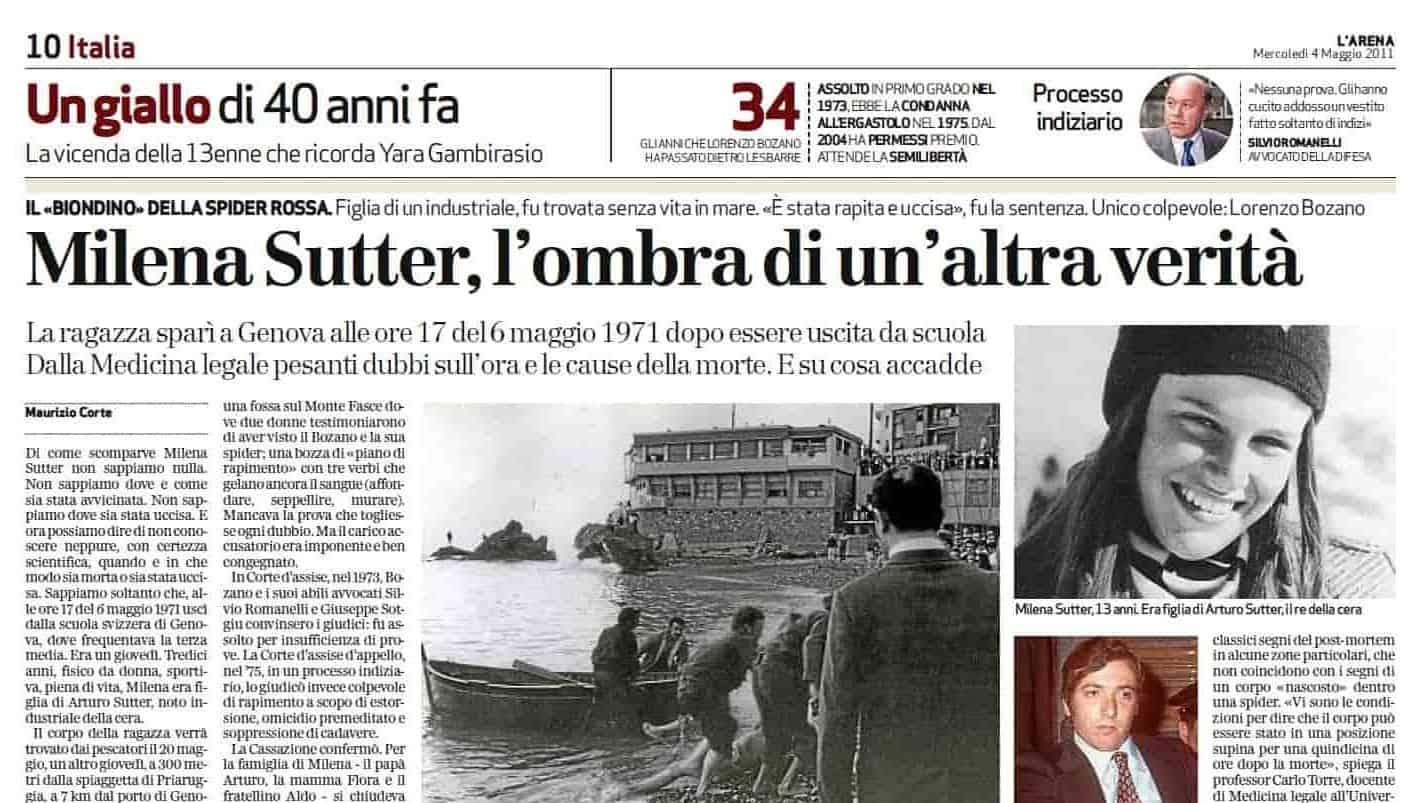 Milena Sutter - Lorenzo Bozano - Genova - 1971 - blog ilbiondino.org - Agenzia Corte&Media Verona