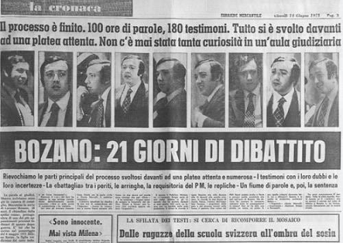 Milena Sutter, Lorenzo Bozano, analisi dei media - sequestro e omicidio - Genova - processo 1973