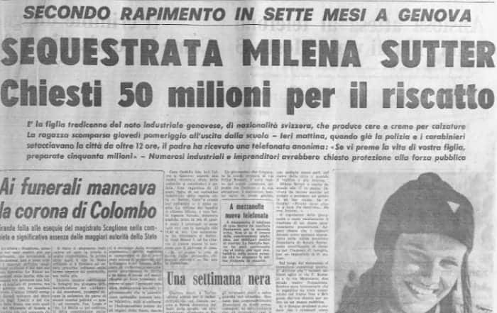 Milena Sutter sequestrata e uccisa nel 1971 - Yara Gambirasio scomparsa e uccisa nel 2010