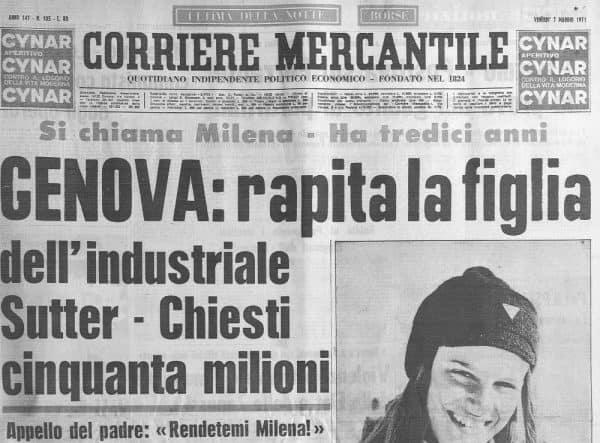 Rapimento-Omicidio - Milena Sutter - Lorenzo Bozano - Biondino Spider Rossa - Biondino.org - 6 maggio 1971 - Genova