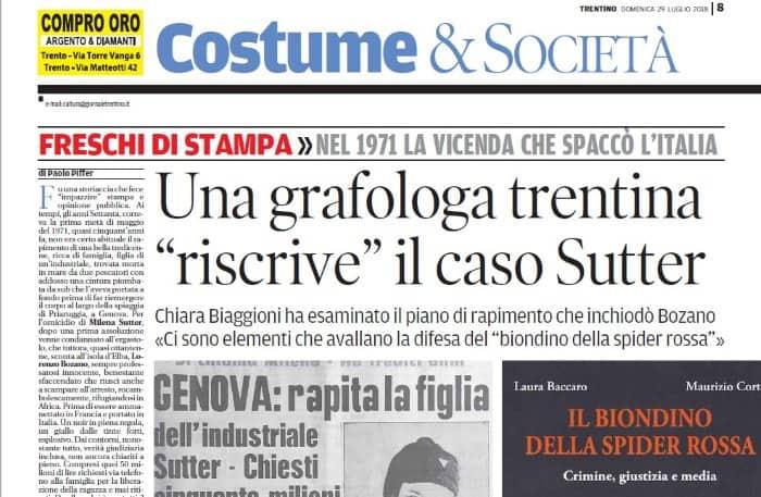 Scuola Grafologica Morettiana - articolo del Trentino e dell'Alto Adige sul piano di rapimento di Lorenzo Bozano - sequestro e omicidio Milena Sutter