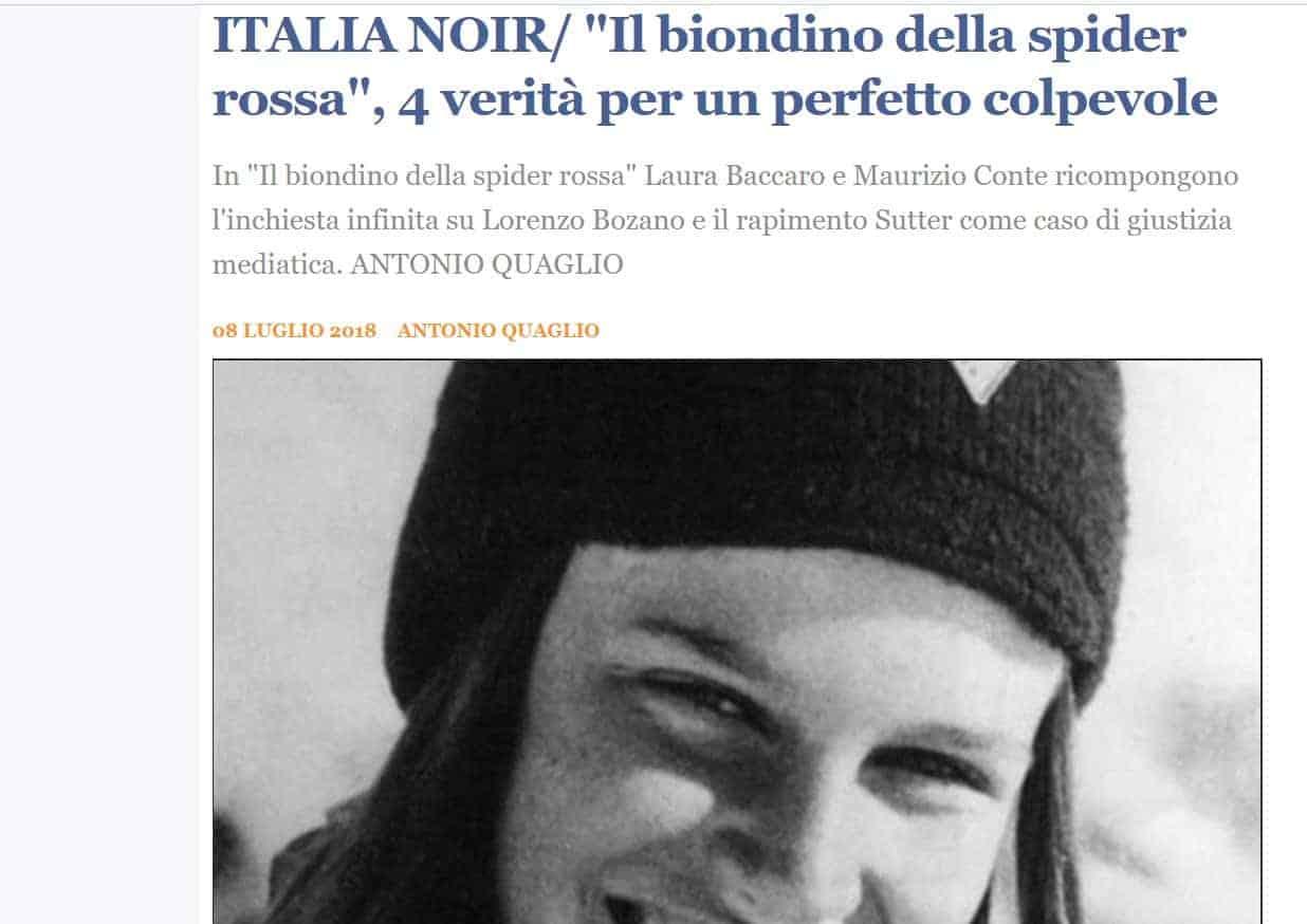 Sequestro e omicidio di Milena Sutter - libro Il Biondino della Spider Rossa - sito web Il Sussidiario.net